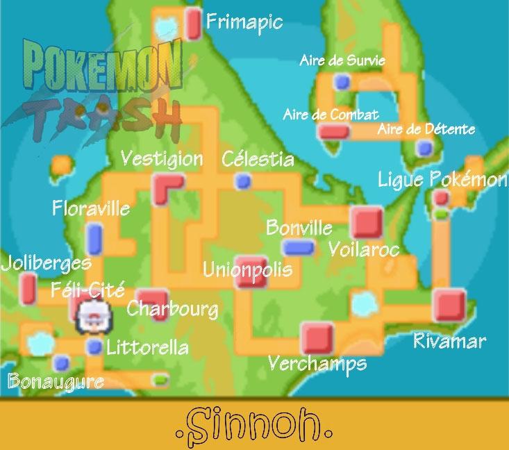Cartes des lieux dans pok mon diamant et perle - Pokemon rare diamant ...