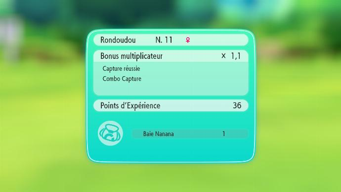 Récompenses de capture Pokémon Let's Go Evoli et Pikachu