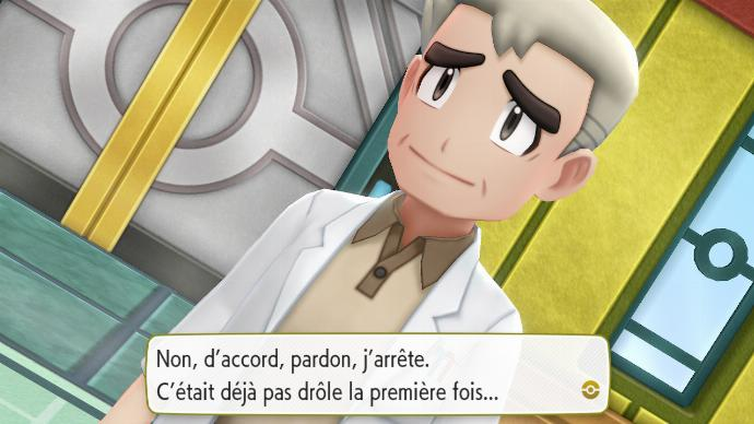 Pokémon Let's Go Ligue Pokémon Victoire Peter Professeur Chen Blague