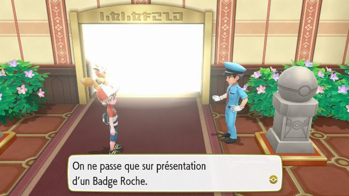 Pokémon Let's Go Route 22 Route 23 Point contrôle badges Badge Roche